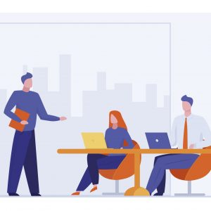 Business coach talking to audience. Leader or boss instructing team flat vector illustration. Speaker, training, leadership concept for banner, website design or landing web page